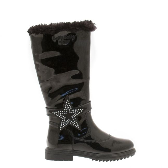 Girls Black Marion Patent Tall Boots (26-35)