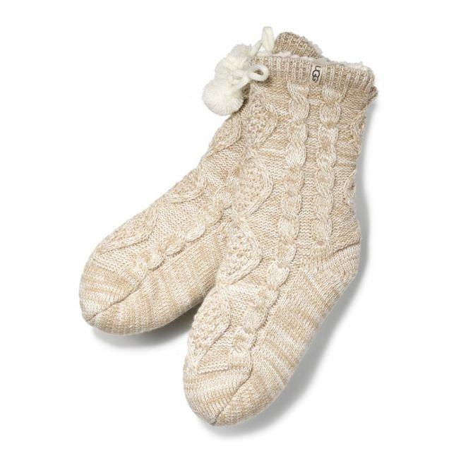 Womens Cream Pom Pom Fleece Lined Socks