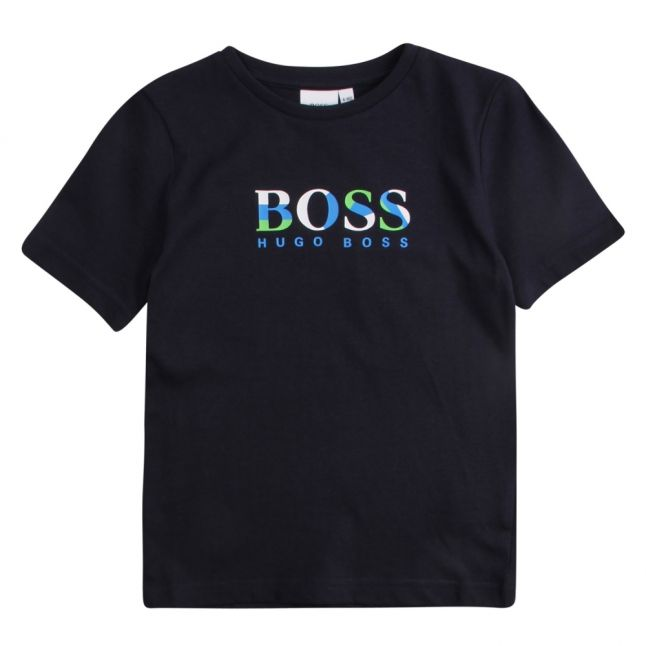 Boys Navy Colour Big Logo S/s T Shirt