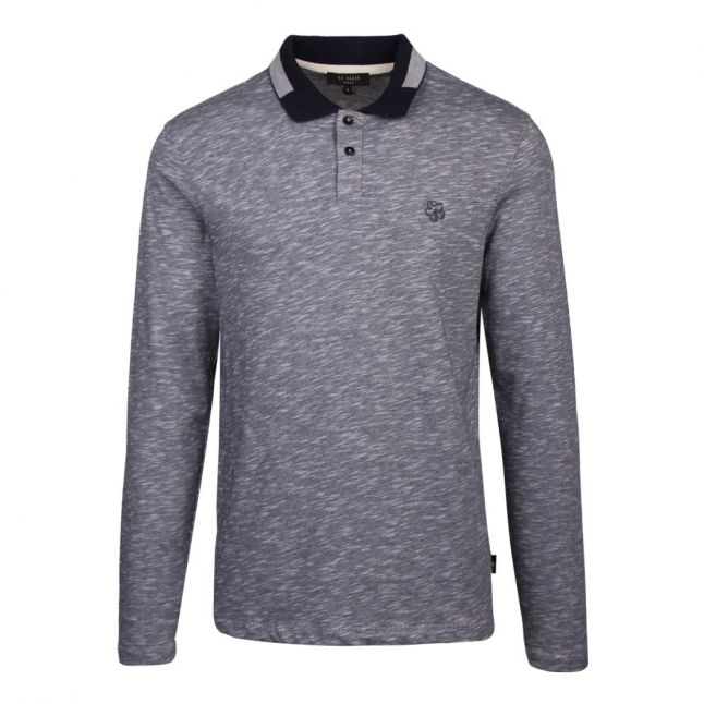 Mens Navy Wiskay Space Dyed L/s Polo Shirt
