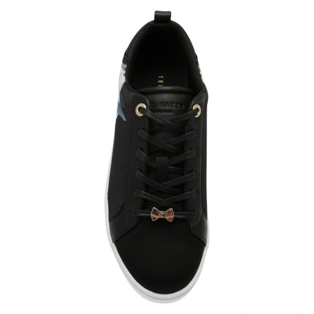 Womens Black Rialy Printed Satin Trainers