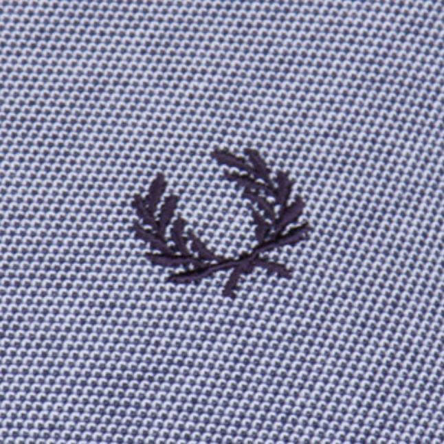 Mens Dark Carbon Oxford Woven Collar S/s Polo Shirt