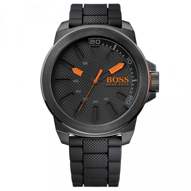Mens Black Dial New York Silicone Strap Watch
