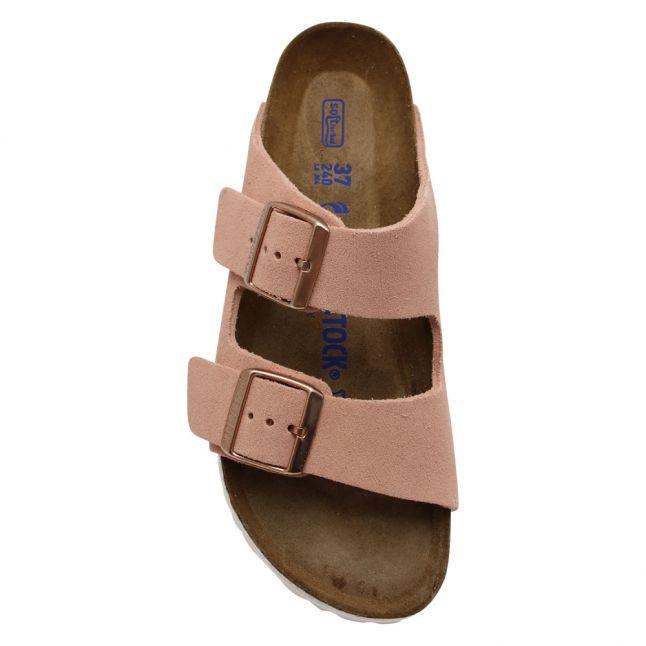 Womens Light Rose Suede Arizona Soft Footbed Slides