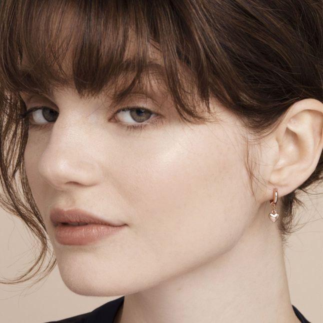 Womens Rose Gold Harrye Heart Huggie Earrings