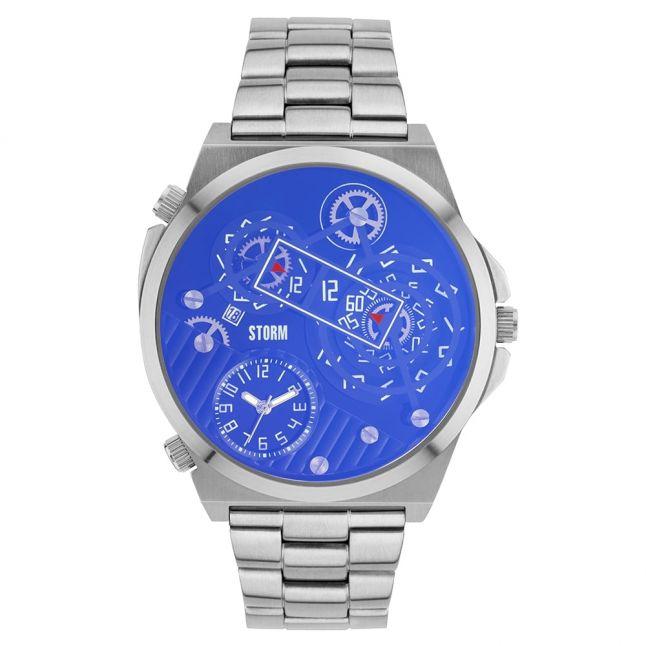Mens Lazer Blue Dial Silver Trimatic Watch