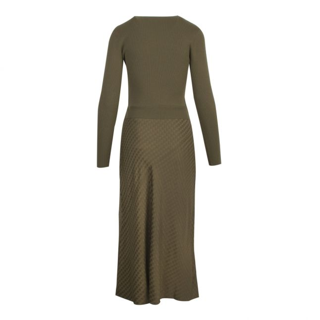 Womens Khaki Joowani Knitted Jacquard Midi Dress