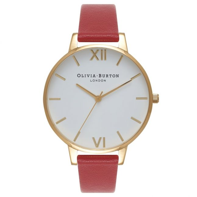Womens Red & Gold White Dial Watch