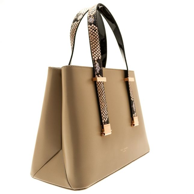 Womens Taupe Abigail Exotic Handle Detail Lady Bag