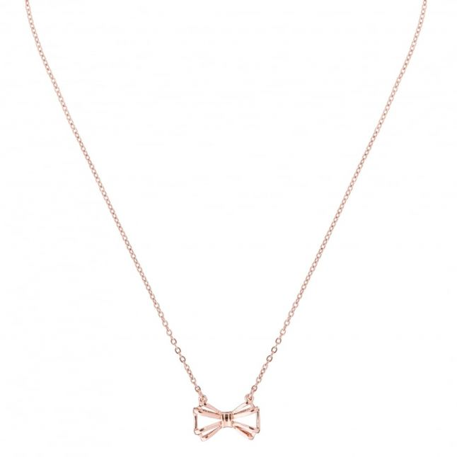 Womens Rose Gold Signy Bow Necklace