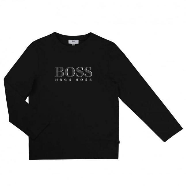 Boys Black Branded L/s Tee Shirt