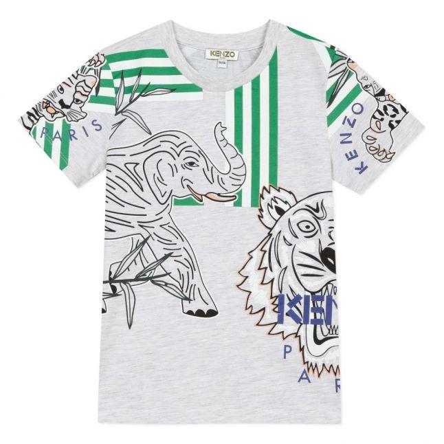Boys Light Marl Grey Jacob Tiger Stripe S/s T Shirt