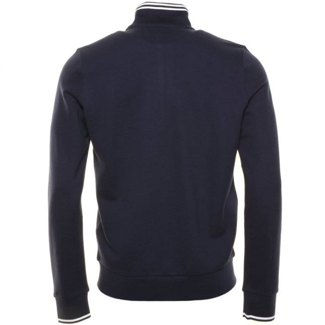 Mens Navy Full Zip Pique Sweat Top