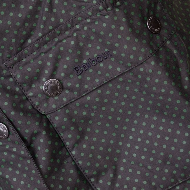 Heritage Womens Navy Rain Bedale Spot Print Waxed Jacket