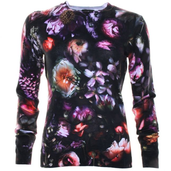 Womens Mid Grey Noline Shadow Floral Printed Sweater