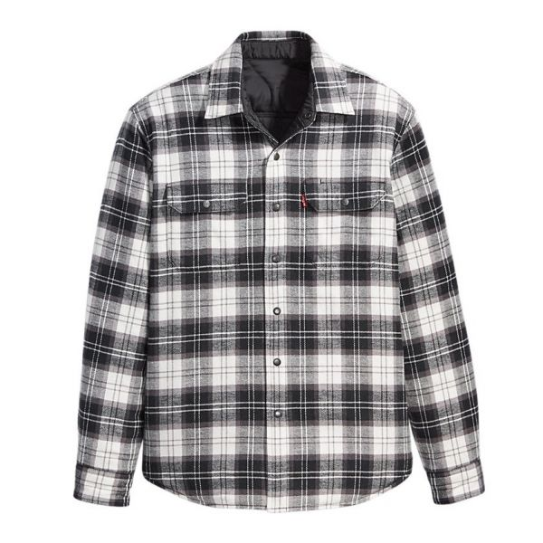 Mens Shade Black Jackson Check Padded Overshirt