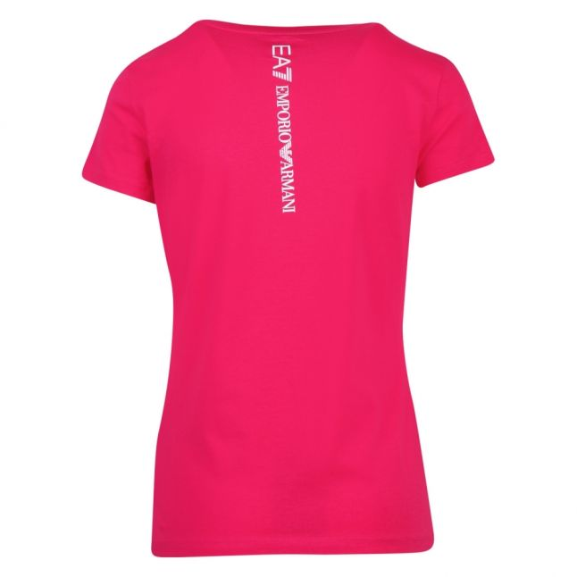 Womens Bright Pink Train Shiny Logo S/s T Shirt