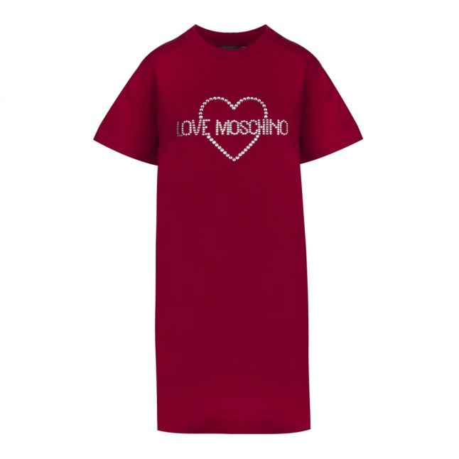 Womens Burgundy Jewel Heart Short Dress