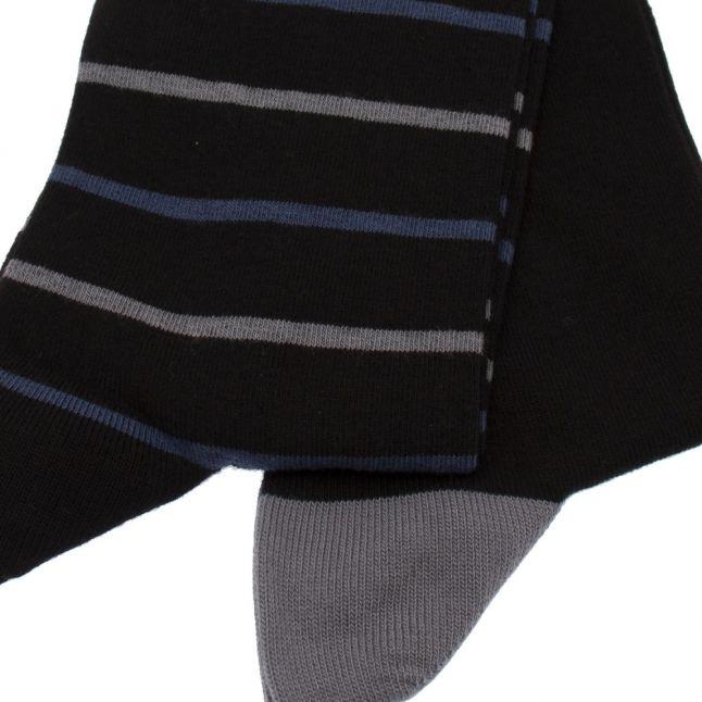 Mens Black Plain & Stripe 2 Pack Socks