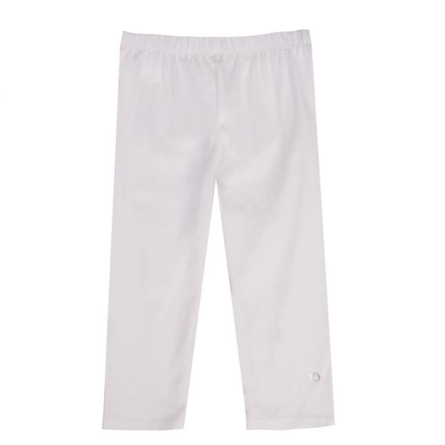Girls White Basic Leggings