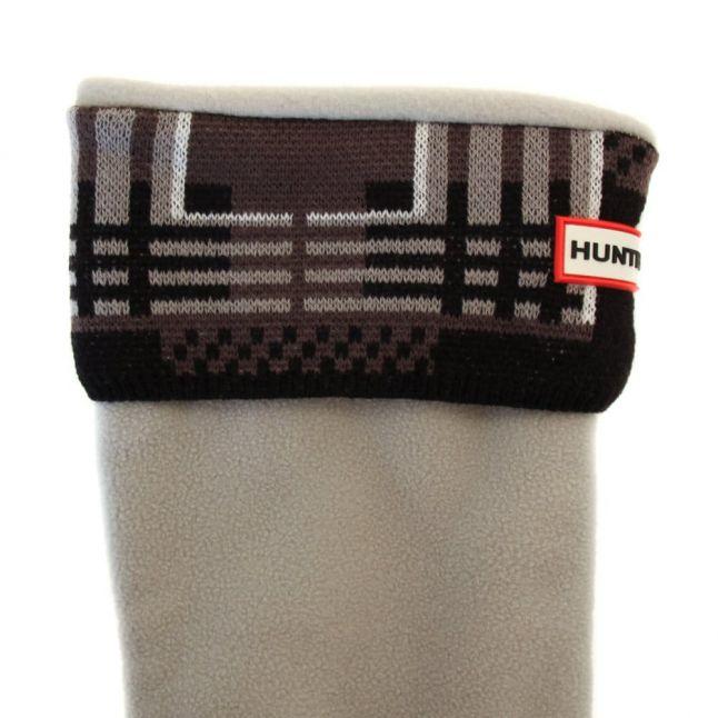 Womens Black & White Tall Tartan Cuff Wellington Socks