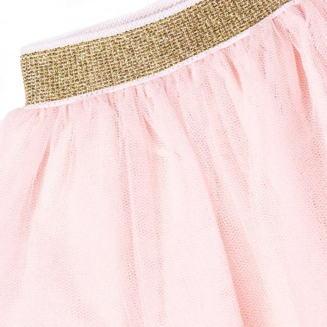 Baby Pale Pink Metallic Trim Frill Skirt