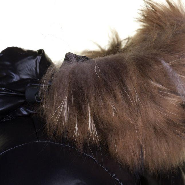 Womens Black Authentic Fur Hooded Shiny Jacket
