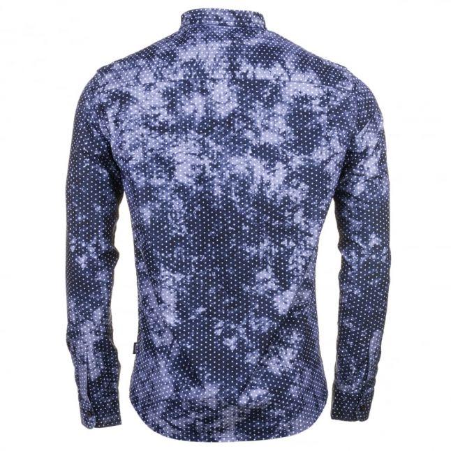Mens Blue Patterned L/s Shirt