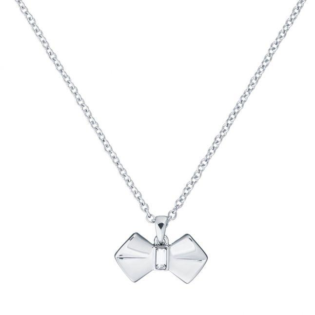 Womens Silver/Crystal Sarahli Solitaire Bow Pendant Necklace