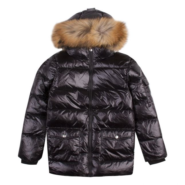 Girls Black Authentic Shiny Fur Hooded Jacket