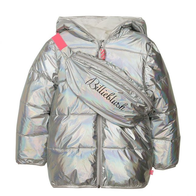 Girls Silver Iridescent Padded Coat