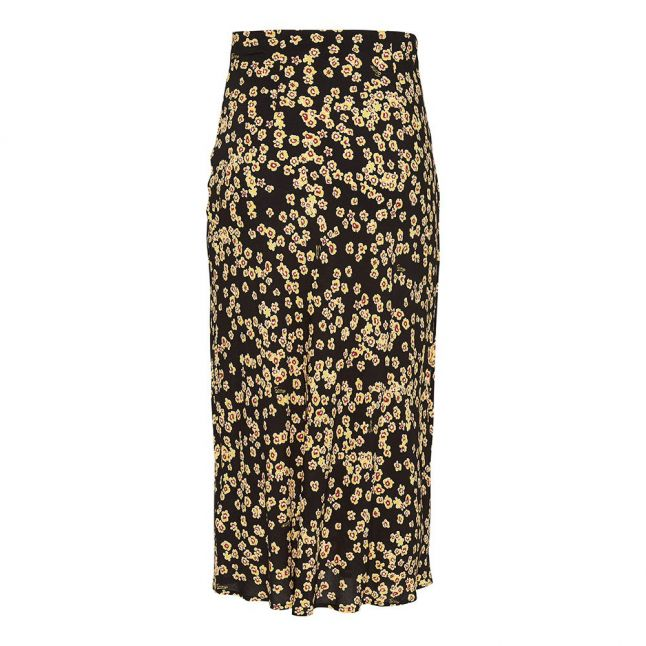 Womens Black Floral Printed Midi Skirt