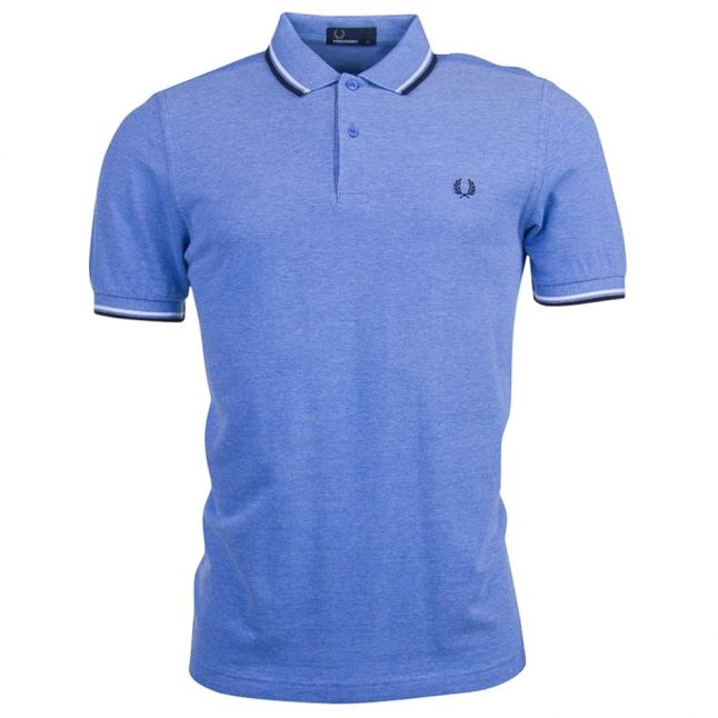 Mens Prince Blue Oxford Twin Tipped S/s Polo Shirt