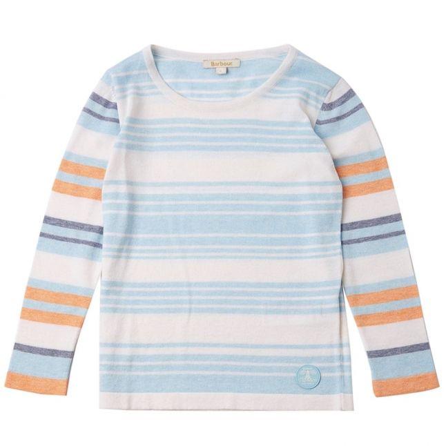 Girls Aqua Bowline Stripe Knitted Sweater