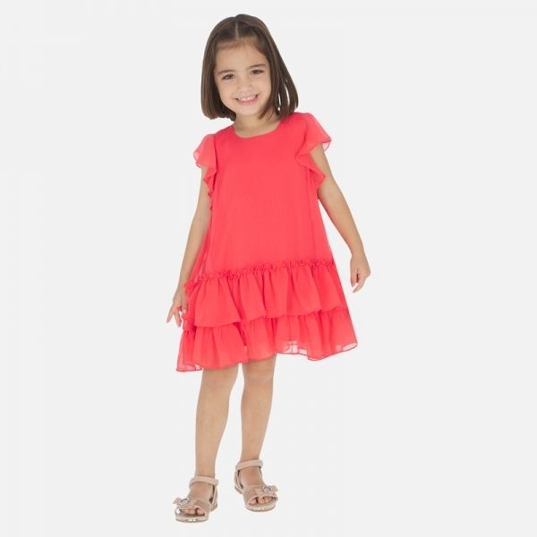 Girls Watermelon Voile Ruffled Dress
