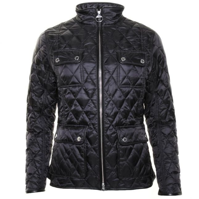 Womens Black & Mink Viscon Quilted Jacket