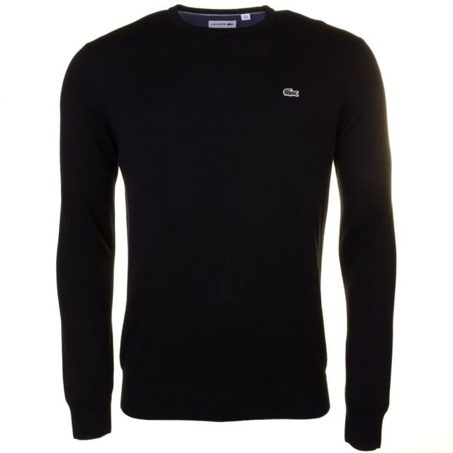 Mens Black Cotton Crew Knitted Jumper