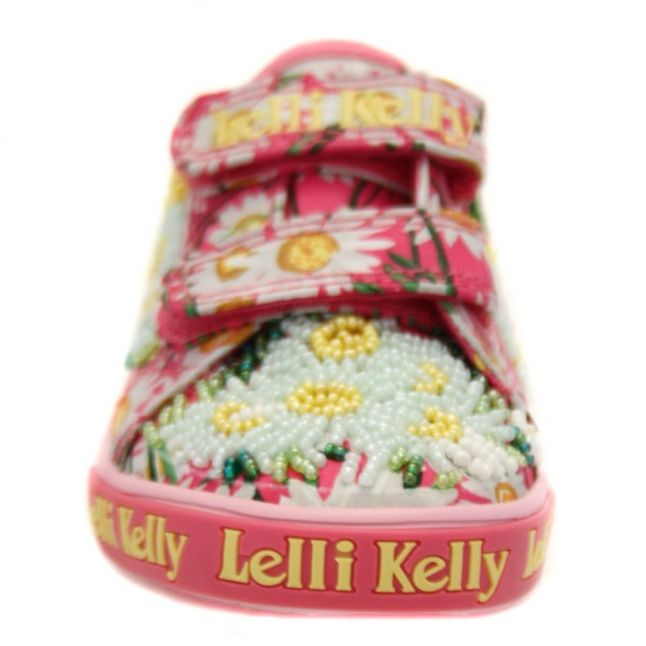 Girls Pink Daisy Velcro Trainers (24-33)