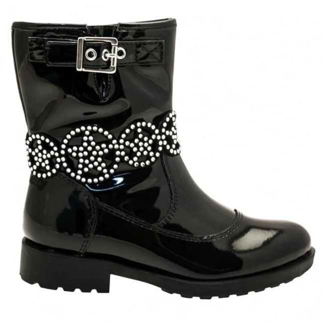 Girls Black Patent Ann Mid Strap Boots (26-35)