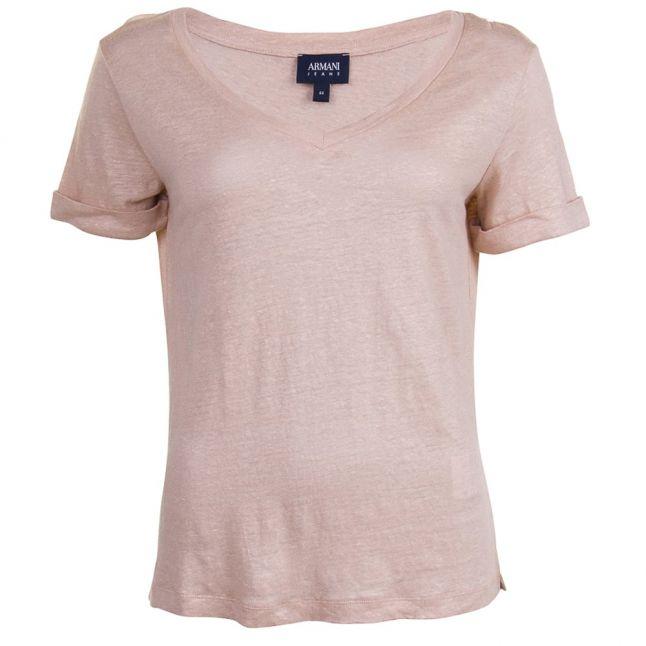 Womens Beige V Neck S/s Tee Shirt