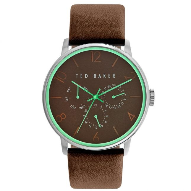 Mens Brown Multifunctional Leather Strap Watch