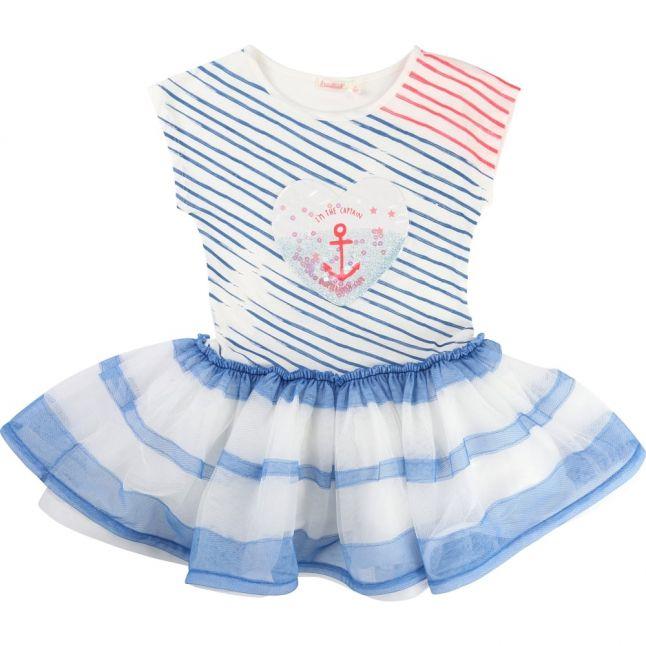 Girls Blue Striped Tutu Dress