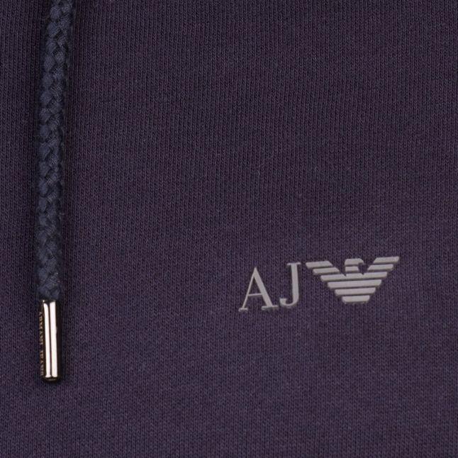 Mens Blue Small Logo Zip Hooded Sweat Top