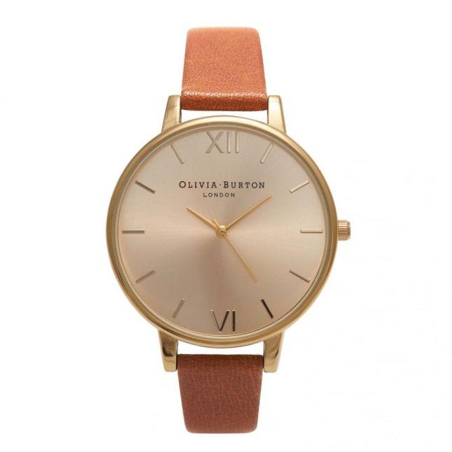 Tan & Gold Big Dial Watch