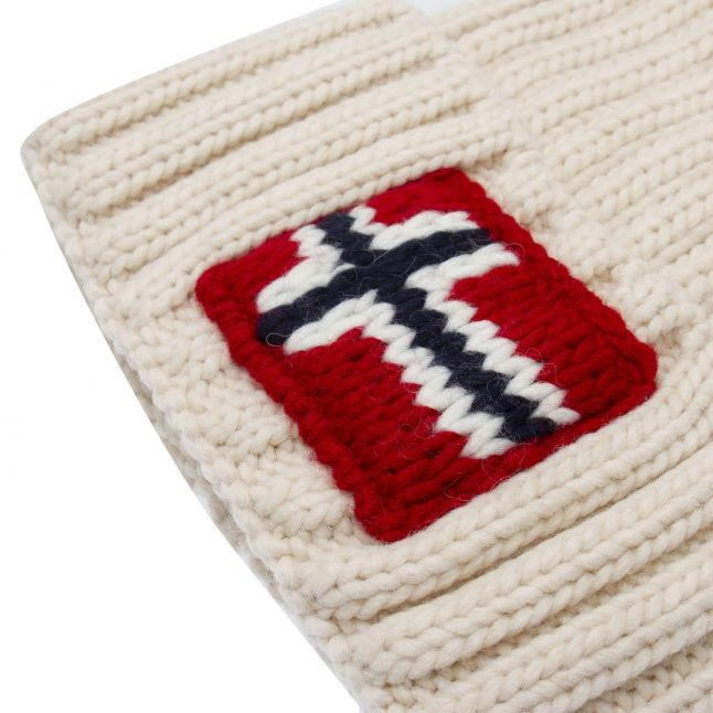Mens White Semiury 3 Knitted Hat