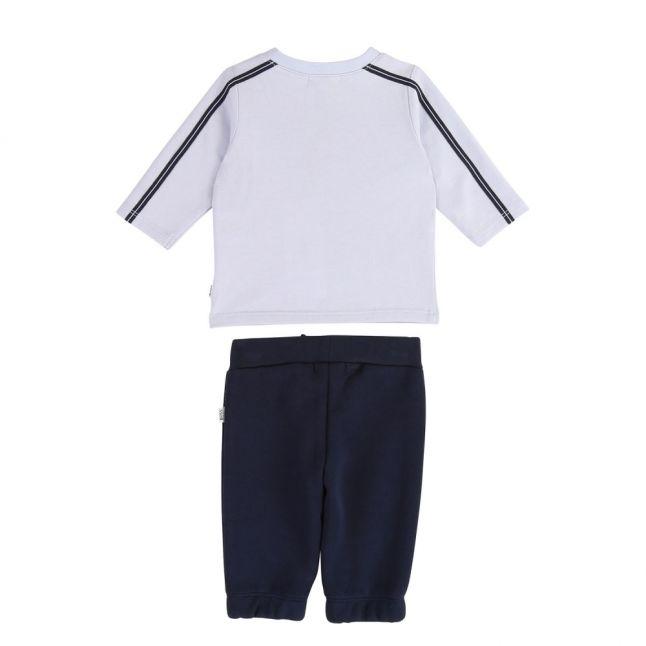 Baby Pale Blue Navy Logo L/s T Shirt & Pants Set