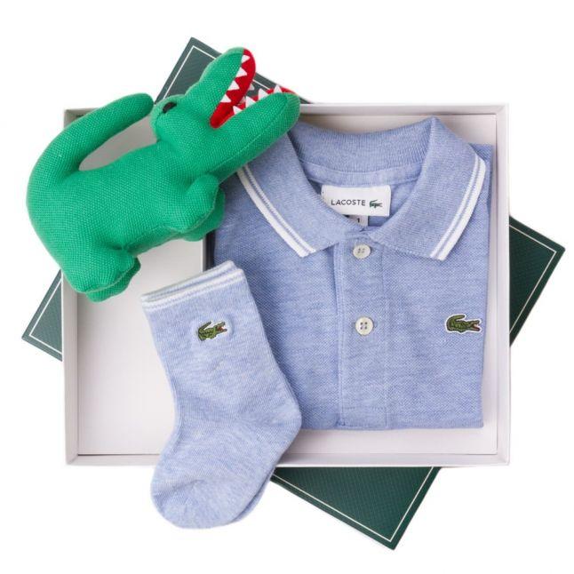 Baby Cloudy Blue S/s Polo Shirt & Sock Set (1yr)