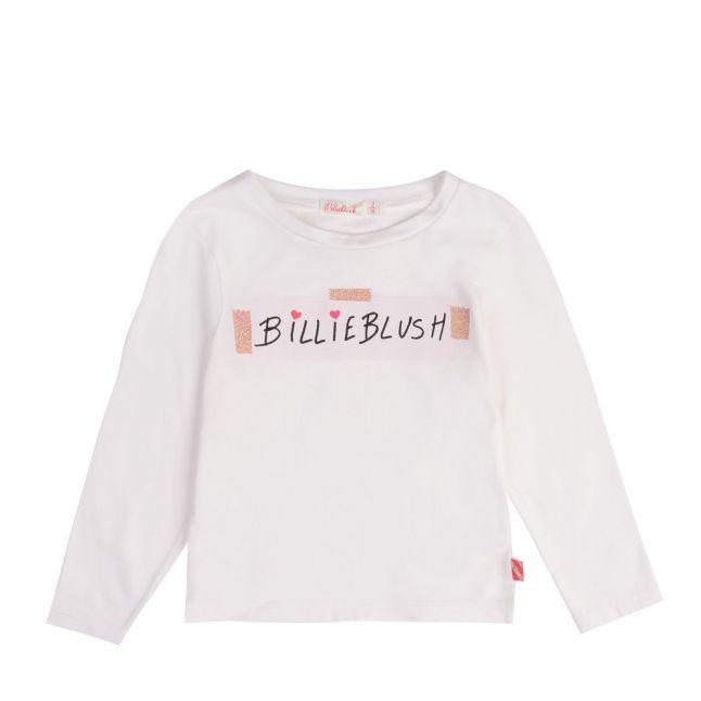 Billieblush Girls Ivory Logo Tape L/s T Shirt