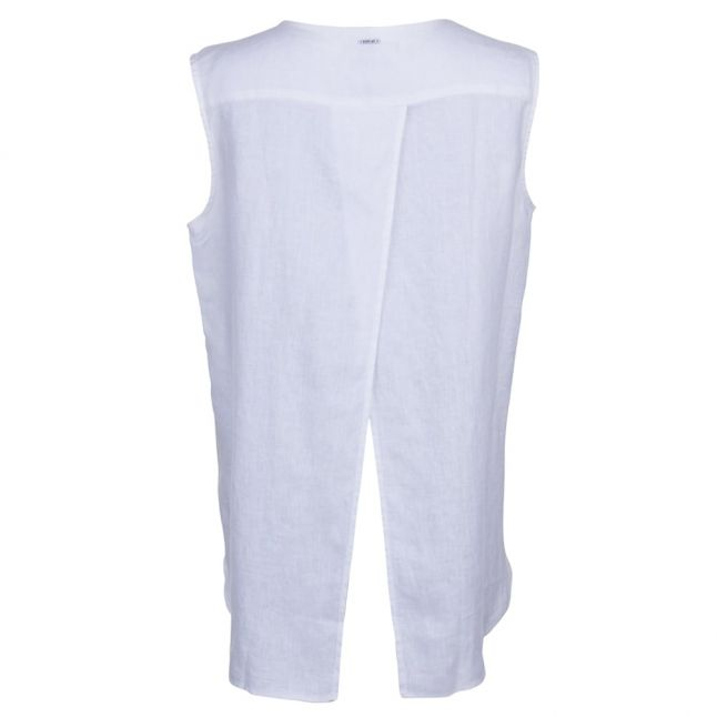 Womens White Sleeveless Shirt