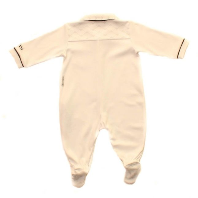 Baby Long Sleeve Polo Romper In White
